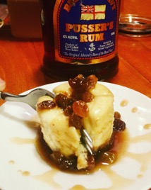 Gluten Free Cheesecake with Pussers Rum Raisin Sauce